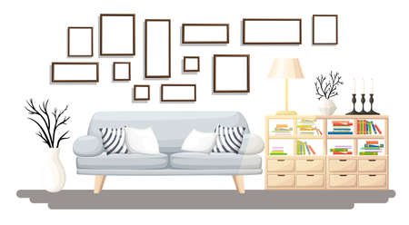 Interior Design. Modern living room with grey sofa, vase, shelf with books and floor lamp. Apartment interior in the flat style.