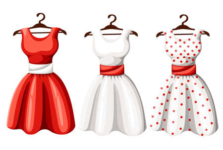 Set of retro pinup cute woman dresses. Short and long elegant black, red and white color polka dot design lady dress collection. Vector art image illustration, isolated on background. Stock Illustratie