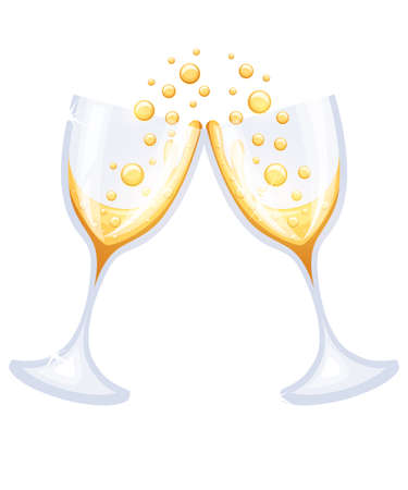 aerated: Two glasses of champagne Vector Illustration on white background. Web site page and mobile app design.