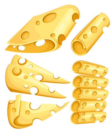 Pieces of Cheese isolated on white. Popular kind of cheese icons isolated. Cheese types. Modern flat style realistic vector illustration on white background. Web site page and mobile app design.