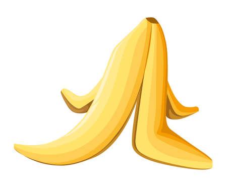 白い背景の上のバナナの皮。ベクトルの図。白い背景の Web サイト ページとゲーム用モバイル アプリ設計。