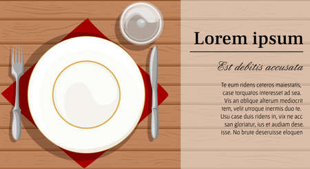 A Vector illustration of a plate set on a red table napkin with fork and knife on the sides. Web site page and mobile app design Illustration