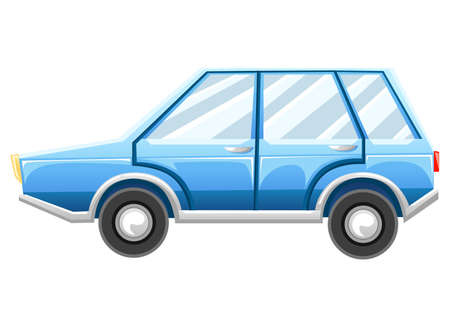 Cartoon Car Isolated on White Background. Blue car Web site page and mobile app design.