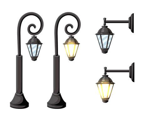 Vintage straatverlichting. Vector retro straatlantaarnlichten die op witte achtergrond worden geïsoleerd. Website-pagina en ontwerp van mobiele apps.