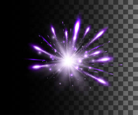 Glow isolated white transparent effect, lens flare, explosion, glitter, line, sun flash, spark and stars over checkered background. For illustration template art design, banner for Christmas celebration, magic flash energy ray. Vettoriali