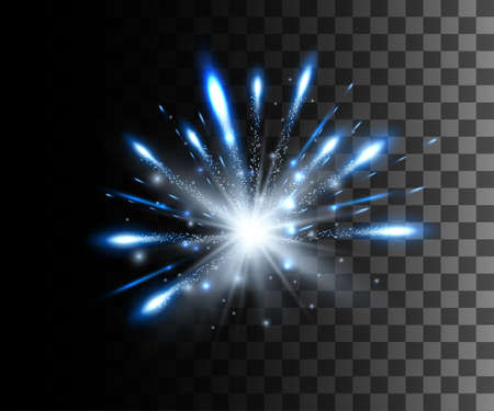 Glow isolated white transparent effect, lens flare, explosion, glitter, line, sun flash, spark and stars over checkered background. For illustration template art design, banner for Christmas celebration, magic flash energy ray. Illustration