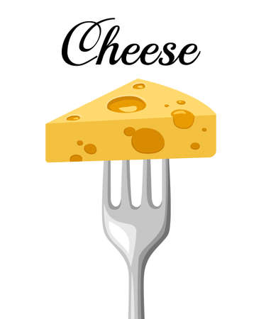 Triangular piece of cheese on a steel fork, object on the white background. Vector illustration. Website page and mobile app design