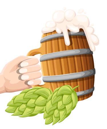 Illustration of wooden beer mug with hop cone on isolated background. Pub and bar menu, alcohol beverage label, brewery symbol design. Website and mobile app Ilustração
