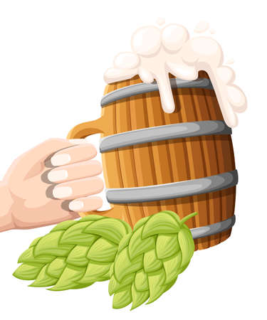 Illustration of wooden beer mug with hop cone on isolated background. Pub and bar menu, alcohol beverage label, brewery symbol design. Website and mobile app Illustration