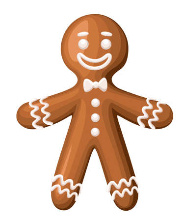Christmas gingerbread man cookie. Isolated on white background. Holiday vector Illustration. Website page and mobile app design Illustration