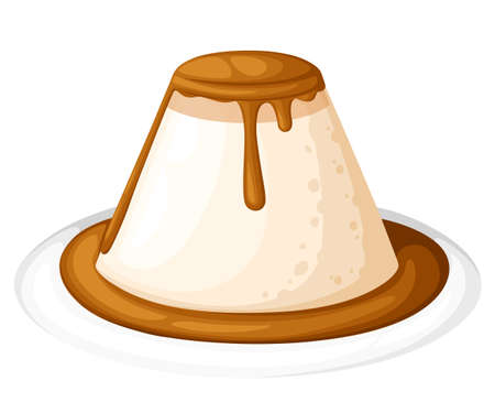 Pudding or custard with caramel in plate illustration vector, flat design. Website page and mobile app design