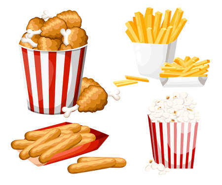 Big group of fast food products. Vector illustration isolated on white background. Set of cheese stick, popcorn, french fries, fried chicken in strip bucket. Website page and mobile app design Vettoriali