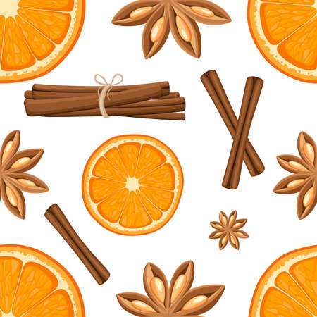 Cinnamon stick, star anise and slices of oranges. Isolated illustration on white background. Seamless illustration. Website page and mobile app
