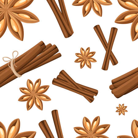 Cinnamon stick, star anise, anise and cardamom vector. Isolated icons on white background. Seamless illustration. Website page and mobile app Illustration