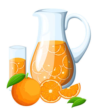 Orange fruit drink in the glass pitcher. Orange with leaves whole and slices of oranges. Decorative poster, emblem natural product, farmers market. Isolated on white background. Website and mobile app Illustration
