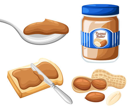 Illustration of a jar of peanut butter,bread and butter isolated on a white background. Design template in EPS10. Website page and mobile app design Stok Fotoğraf - 90581764