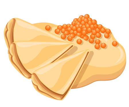 Pancakes with salmon red caviar. Pancake wrapping. Tasty festive dish. Vector illustration isolated on white background. Web site page and mobile app design