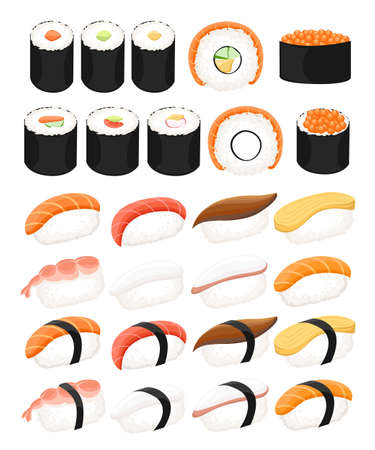 Japan food set,different types of sushi isolated on white background. Nigiri sushi. Website page and mobile app design