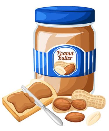 白い背景で隔離のパンとバター、ピーナッツ バターの瓶のイラスト。EPS10 のデザイン テンプレートです。Web サイト ページとモバイル アプリの設計  イラスト・ベクター素材