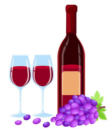 Vector grapes brunch with leaves, wine glass and bottle of red wine illustartion. Design template in EPS10. Website page and mobile app design
