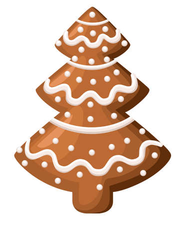 Christmas gingerbread. Xmas tree cookie. Decorated white icing. Isolated on white background. Holiday vector Illustration. Website page and mobile app design
