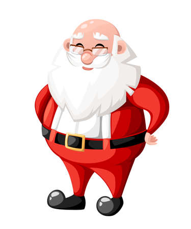 Smiling Christmas cartoon Santa Claus character without hat hat holiday character vector illustration isolated on white background web site page and mobile app design.