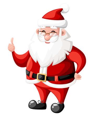 ホワイト バック グラウンド web サイト ページとモバイル アプリの設計に分離された赤い帽子休日文字ベクトル図でジェスチャーを親指でクリスマ