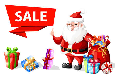 Christmas Santa Claus with thumb up gesture near sale banner with gifts holiday character vector illustration isolated on white background web site page and mobile app design.
