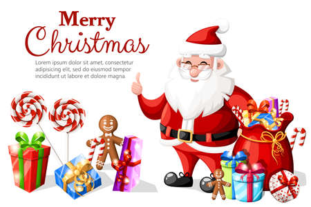 Christmas Santa Claus with thumb up gesture with red hat and gifts holiday character vector illustration isolated on white background with place for your text web site page and mobile app design.