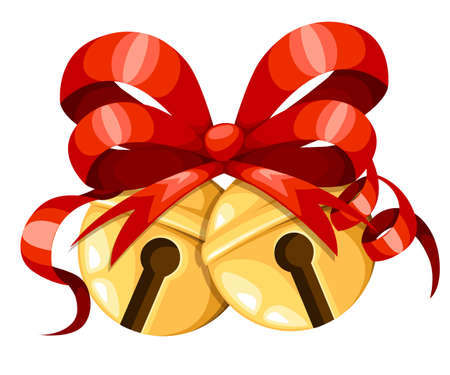 Golden Christmas bell balls with red ribbon and bow. Xmas decoration. Jingle bells icon. Vector illustration isolated on white background. Web site page and mobile app design