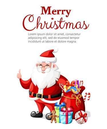 赤い帽子とギフト休日の文字でジェスチャーを親指でクリスマス サンタ クロースはベクトル テキスト web サイト ページとモバイル アプリの設計の