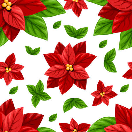 Beautiful red Poinsettia flower and green leaves Christmas decoration seamless vector illustration isolated on white background with place for your text web site page and mobile app design.