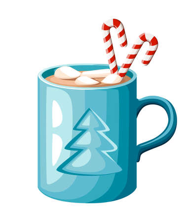 Blue mug of hot cocoa or coffee with candy stick and marshmallows vector illustration isolated on white background web site page and mobile app design. Illustration