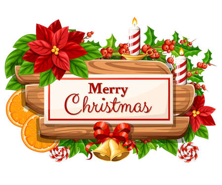 Wooden Christmas board with set of holiday decoration and the inscription with Merry Christmas vector illustration isolated on white background web site page and mobile app design.