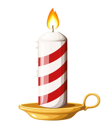 Striped red burning Christmas candle on candlestick vector illustration isolated on white background web site page and mobile app design. Illustration