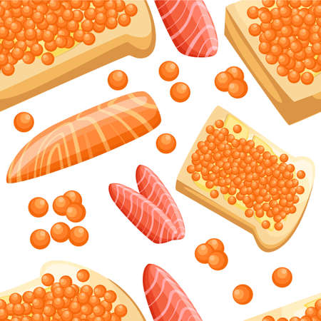 Seamless pattern piece of fresh red salmon fish caviar fillets and tasty bread with butter vector illustration on white background web site page and mobile app design. Illustration