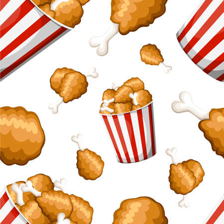 Pattern of fried chicken in strip bucket and fried chicken leg in flat style chicken thighs icon.