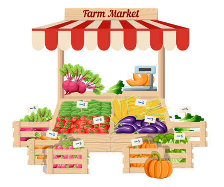 Support en bois de marché avec aliments de la ferme et légumes en boîte avec poids et étiquettes de prix vector illustration isolé sur la page de site de fond blanc et la conception de l'application mobile.