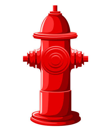 Red fire hydrant in flat style isolated on white illustration.