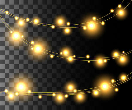 Horizontal glowing light yellow bulbs design for holidays garlands christmas decorations effect isolated on the transparent background website page game and mobile app design. Illustration