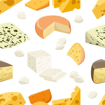 Seamless pattern pieces of cheese Popular kind of cheese icons isolated flat style fresh milk products vector illustration on white background web site page and mobile app design. Ilustração