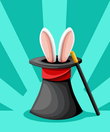 Rabbit ears appear from the magic top hat with red ribbon and magical wand flat style vector illustration isolated on turquoise background website page and mobile app design.