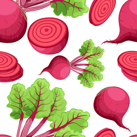 Seamless pattern beets with a bundle of leaves useful vegetables flat style fresh food vector illustration on white background web site page and mobile app design.