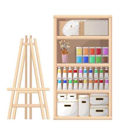 Cartoon-stijl gereedschappen en materialen voor schilderen en schepsel. Schetsboek, penselen, schildersezelpalet en tube verf op witte achtergrond. Website-pagina en ontwerp van mobiele apps.