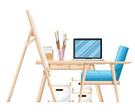 Cartoon-stijl tools en materialen voor het schilderen. Borstels, ezel buis van verf en notitieblok op tafel met blauwe fauteuil op witte achtergrond. Website-pagina en ontwerp van mobiele apps.