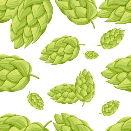 Seamless pattern hop cone fresh organic ingredient for beer vector illustration on white background web site page and mobile app design.