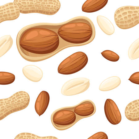 Seamless pattern wits set of peanuts vector illustration on white background web site page and mobile app design.