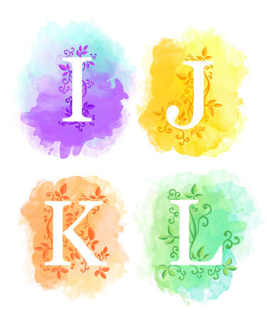 Alphabet with watercolor background white letters i j k l and young branches with leaves isolated on white background website page and mobile app design. Illustration