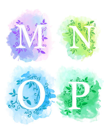 Alphabet with watercolor background white letters m n o p and young branches with leaves isolated on white background website page and mobile app design.