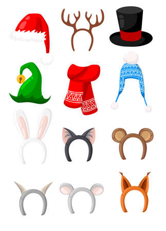 New Year hats set of santa,rabbit,cat,bear,fox,deer for masquerade costumes holiday headdress elements vector icons illustration isolated on white background web site page and mobile app design. Banque d'images - 91933415